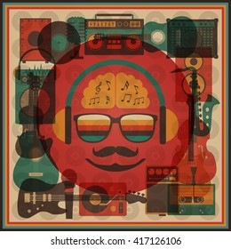 retro hipster funky poster, abstract style
