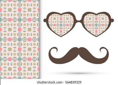Retro hipster sunglasses and mustaches with seamless hand drawn pattern. Isolated elements for business card, t-shirt print, party invitation. Heart shape glasses, tropical doodle florals eyewear