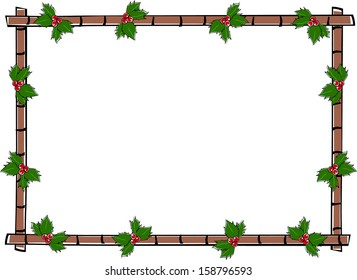 Retro Holiday Horizontal Bamboo Frame with Holly Berries & Leaves Vector Illustration