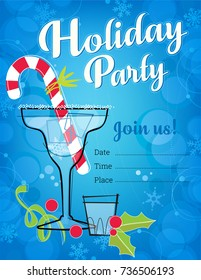 Retro Holiday Party Invitation with cocktails and candy cane