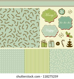Retro holiday set with different patterns and elements