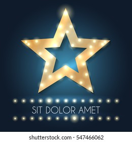 Retro hollywood star frame with message and lights vector illustration. Template of banner with bright frame star shaped