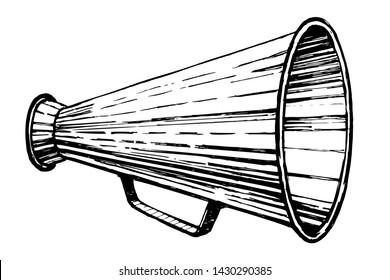 Retro horn loudspeaker sketch style vector illustration. Old hand drawn engraving imitation. Old bullhorn symbol.