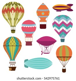 Retro hot air balloons set for transportation flying, vector illustration