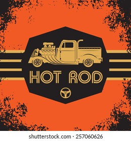 Retro Hot Rod poster, vector illustration