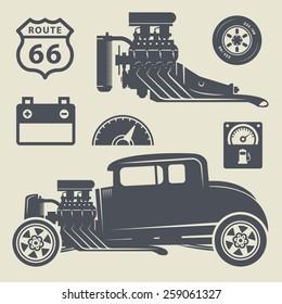 Retro Hot Rod set, vector illustration