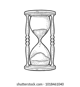 Retro hourglass. Vector black vintage engraving illustration isolated on white background. Hand drawn design element for label, poster