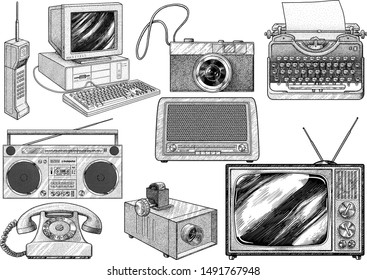 Retro household item illustration, drawing, engraving, ink, line art, vector