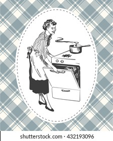 Retro housewife cooking in her kitchen vector image