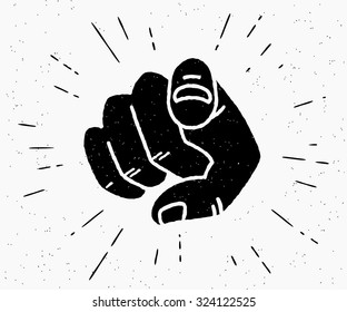 Retro human hand with the finger pointing or gesturing towards you. Vintage hipster vector illustration of finger point isolated on white background. Recruit poster or point icon we want right you