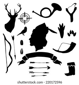 Retro hunter silhouettes hand drawn set. Vintage vector illustration.