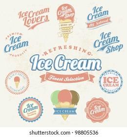 Retro Ice Cream Label And Vintage Set
