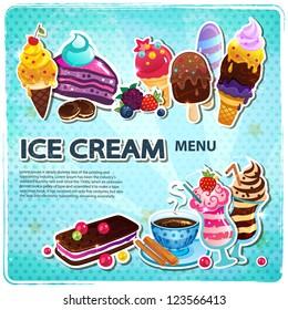 Retro Ice cream menu