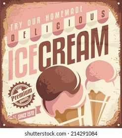 Retro ice cream tin sign design concept. Vintage icecream promotional poster or ad template.