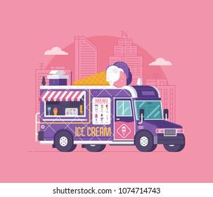 Retro ice cream van in flat design. City street food car. Summer kitchen auto kiosk vector illustration. Cartoon ice-cream truck illustration. Vintage cartoon minivan with frozen sweets.