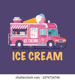 Retro ice cream van in flat design. Street food on wheels kiosk. Summer kitchen car vector illustration. Pink ice-cream truck illustration. Vintage cartoon minivan with frozen sweets.