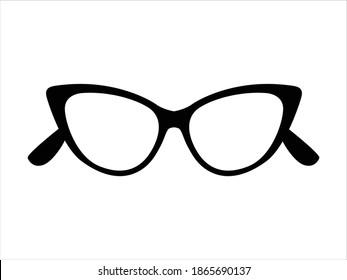Retro icon cat's eye lens glasses isolated on background, retro black-rimmed glasses, women's and men's accessory. Optics, lens, vintage,  trend. Vector illustration.