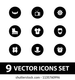 Retro icon. collection of 9 retro filled icons such as helm, man hairstyle, hat, football t shirt, alarm, roller skate. editable retro icons for web and mobile.