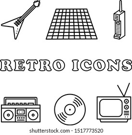 Retro Icon Set -Retro icons in a monoline style. This 80s style icon set includes a guitar, grid, cell phone, boombox, vinyl record, and tv.