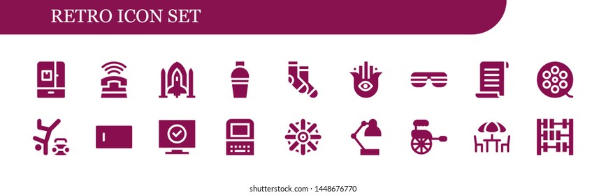 retro icon set. 18 filled retro icons.  Simple modern icons about  - Fridge, Phone, Spaceship, Shaker, Socks, Hamsa, Sunglasses, Papyrus, Film roll, Hip hop, Type, Television