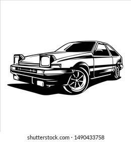 Retro iconic Japanese drifting car in illustration vector