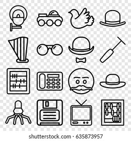Retro icons set. set of 16 retro outline icons such as hat, woman hat, abacus, desk phone, bird, tv, diskette, medical hammer, harp, hat and moustache, street lamp, sunglasses