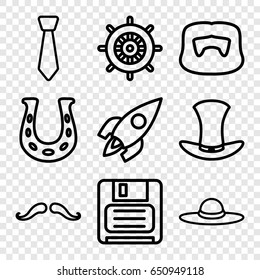 Retro icons set. set of 9 retro outline icons such as helm, mustache, man hairstyle, woman hat, diskette, hat, rocket, tie
