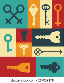 Retro icons set of keys and lock. Silhouettes and frame. Vintage label.