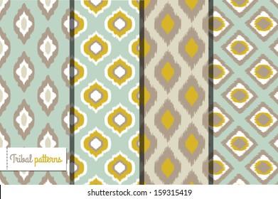 Retro ikat tribal seamless patterns, fashion design, illustration for web design or home decor