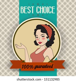 retro illustration of a beautiful woman and best choice message, vector format