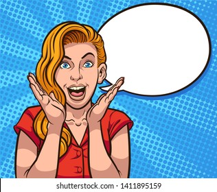Retro illustration of excited woman screaming with a speech balloon clip art. Vector illustration. Some elements on separate layers.