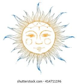 retro illustration face of the sun, sun tattoos, vintage graphics