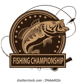 Retro illustration of fishing championship logo with peach fish and fishing rod. Vector illustration can be used for creating logos and emblems for fishing clubs, prints, web and other crafts.