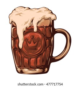 Retro illustration of a mug with fresh dark beer with a white foam isolated on a white background