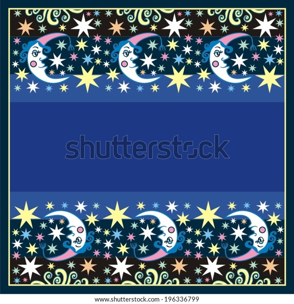 Retro illustration of a smiling moon wishing good night, fantastic picture.EPS10 vector.