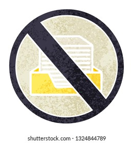 retro illustration style cartoon of a paper ban sign