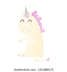 retro illustration style quirky cartoon unicorn