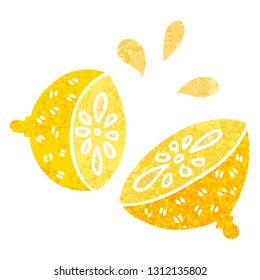 retro illustration style quirky cartoon lemon