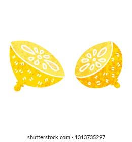 retro illustration style quirky cartoon lemon