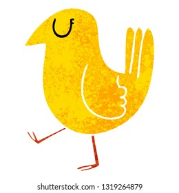 retro illustration style quirky cartoon yellow bird