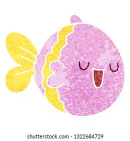 retro illustration style quirky cartoon fish