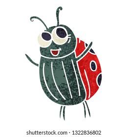 retro illustration style quirky cartoon ladybird