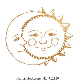 retro illustration sun and moon face, tattoo, line drawing, vintage drawing, gold