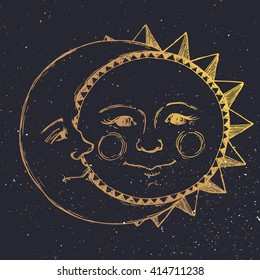 retro illustration sun and moon face, tattoo, line drawing, vintage graphics