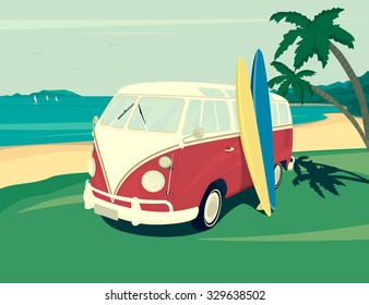 Retro illustration of surfer red bus with two surfboards on the tropical beach. Two palm trees and blue ocean behind. Flat modern design