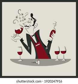 Retro illustration - vintage sommelier with wine glass