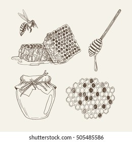 Retro illustrations of honey elements: honeycomb, honey jar, bee and honey dipper. Vector vintage set in woodcut style. Handdrawn objects.