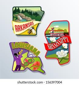 Retro illustrations of US states Louisiana, Arkansas, and Mississippi