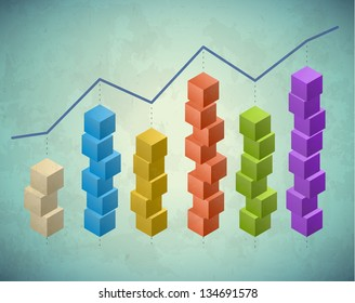 Retro infographic with columns of stacked cubes