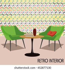 Retro interior with chairs and table on color background.